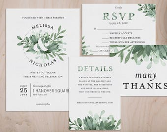 Greenery & Ampersand Watercolor Wedding Invitations and Wedding Suite - Customizable Printable Wedding Invitation Kit - Digital Download
