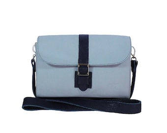 A beautiful leather bag gentle blue color, a perfect gift for your beloved woman