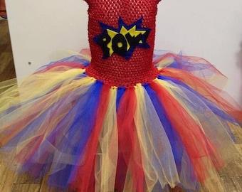 Comic pow tutu dress, birthday parties, fancy dress costume for girls