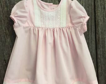 Pink Cotton Dress with Swiss Lace Size 12 months