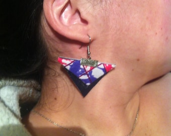 Earrings made of leather and wax