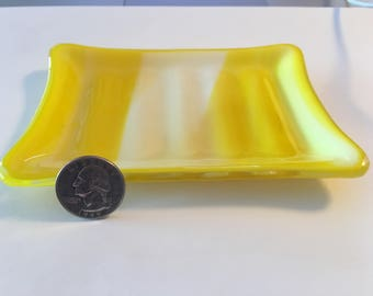 Fused glass yellow and white soap dish or spoon rest