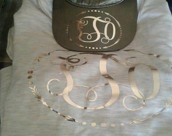 Custom vinyl monogram shirt and hat