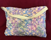 Blanket Bag - Bali Grape Leaves - Opal Pocket - Navy Blanket - Quillow with Carrying Strap (BBG-75-0122-NAVY-LB12)