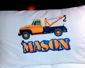 Personalized tow truck pillowcase
