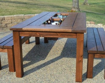 Picnic Table With Built In Coolers