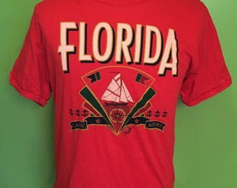 Vintage Florida 1980s Travel Sailing Vacation t shirt / summer / beach / Sunshine State / red / 80s tshirts Large
