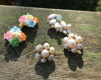 Vintage clip on earrings - one set and 3 singles sold together