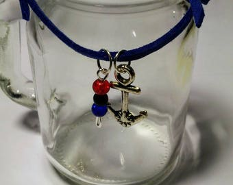 ANCHORED: bracelet adjustable suede, blue, royal, silver anchor charm, beads