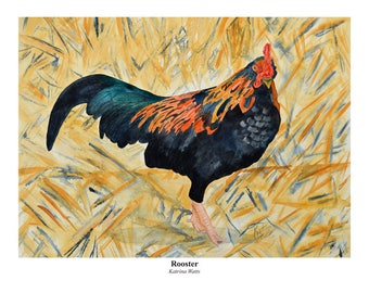 Watercolor Print of a Colorful Rooster