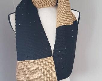 Handmade scarf, black and gold, handknit