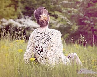 ready to go/Romantic cardigan/handmade crochet/beige cardigan/sweater with a belt/handknit cardigan/crochet sweater/womens handknit cardigan