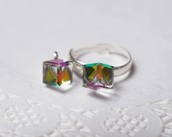 adjustable Ring with Swarovski Side Cut Cube VM Valentine's gift jewelry