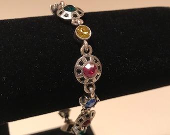 Vintage Patricia Locke multi colored crystal bracelet