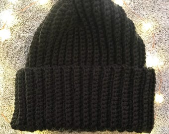 Black fold up beanie