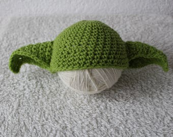 Crochet Baby Newborn Master Yoda Hat Star Wars Halloween Costume Babyshower Gift