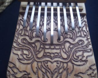 Kalimba / Thumb piano / Mbira - 9 keys - ancestral african instrument - solid Dragon design