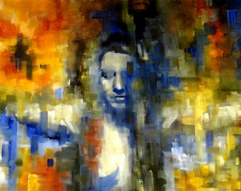 Oil on canvas painting. Colorful, figurative and large painting. Abstract portrait of a woman. Horizontal painting. Original painting.
