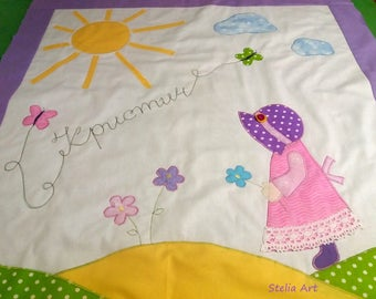 Baby quilt, pink baby quilt,