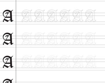 """Printable UPPERCASE Old English Calligraphy Worksheets """"A"""" through """"Z"""" (WITH Fading Letters)"""