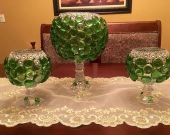 3 green spring vases