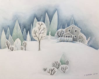 "FINE ART ""Let it Snow"" limited edition Giclee Print from watercolor illustration"