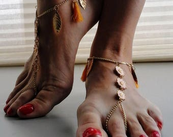 Barefoot Sandals gold flowers