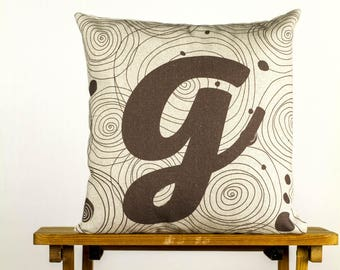 "Letter G as gravity:) Pillow - 16x16"" 40x40cm, simply typography & abstract elements, cotton cushion art cover, graphic and interior design."