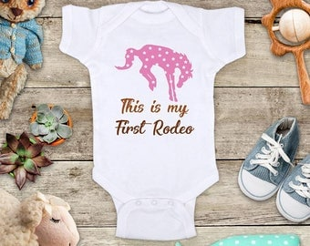 This is my First Rodeo - Cowgirl or Cowboy western cowboy Funny Baby Bodysuit Shower Gift - Made in USA - toddler kids youth shirt