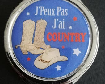 "Pocket mirror ""I can't I have COUNTRY"" blue"