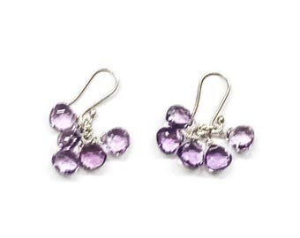 Silver Earrings with Amethyst Stones