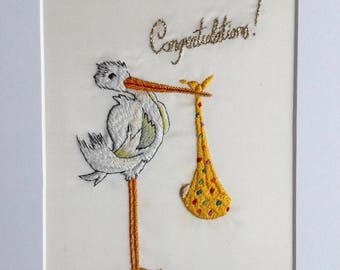 Congratulations stork baby shower embroidery picture