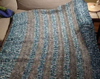 Crocheted striped throw