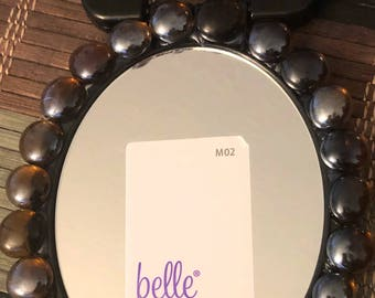 Black Oval Mirror with Stones