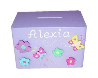 Personalised Wooden Money Box for Girls