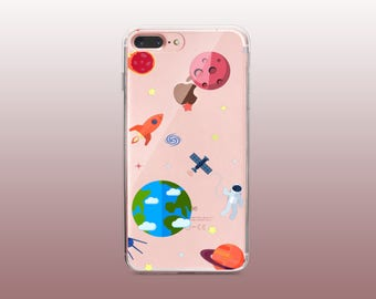 Space Fun Clear TPU Phone Case for iPhone 8- iPhone 8 Plus - iPhone X - iPhone 7 Plus-iPhone 7-iPhone 6-iPhone 6S-Samsung S8