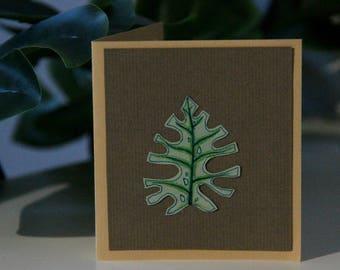 Blank Greeting Card Monstera Leaf