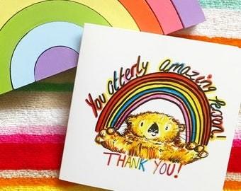 Thank you card- otter card- rainbow card- cute card- appreciation card- cute thank you card- otters- funny thank you card- cards for friends