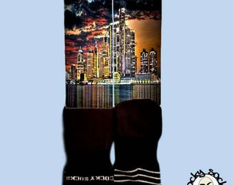 Detroit Skyline Socks || FREE SHIPPING ||