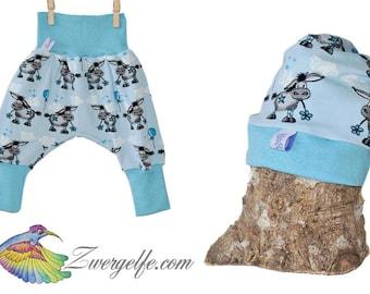 Baby Set bloomers Beanie Donkey (Biojersey) Blue