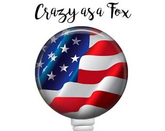 American Flag Retractable Badge Holder, Patriotic Badge Reel, Lanyard, Stethoscope ID Tag, Nurse, RN, Doctor, Teacher Gift