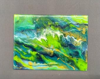 Resin Pour on Glass, Crashing Waves