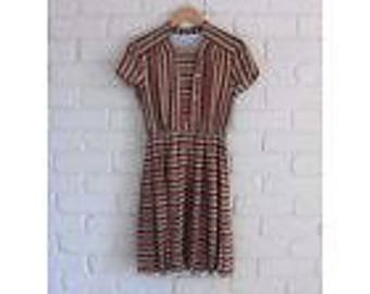 Vintage striped dress, autumn colours