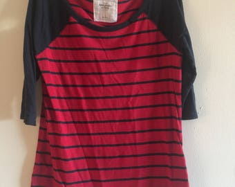 Women's Red & Navy Striped Henley Tee