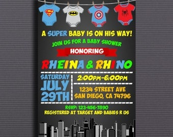Superhero, Superhero Baby Shower Invitation, Superheroes Baby Shower Invitation, Super Hero Invitation, Superheroes Baby Shower Chalk, Card