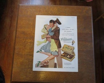 1944 Original Vintage Whitman's Chocolate  ad with WWII Solider