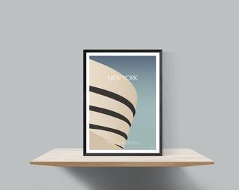 New York , The Guggenheim  minimalist travel poster
