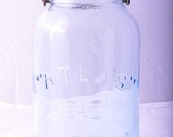 Vintage Atlas Blue Glass E-Z Seal Canning Jar
