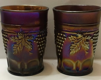 Northwood Grape & Cable Amethyst Carnival Glass Tumblers Set