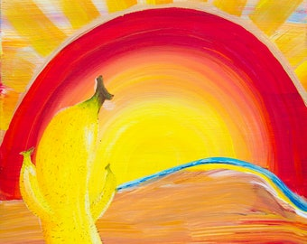 Banana Cacti / Acrylic Painting / Art Print